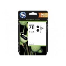 HP 711 - paquete de 2 - gran capacidad - negro - original - DesignJet - cartucho de tinta