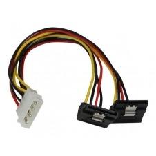StarTech.com Adaptador Cable 30cm Divisor Molex 4 Pines LP4 a Doble SATA en Ángulo Derecho Cierre Seguridad - adaptador de corriente - 30 cm