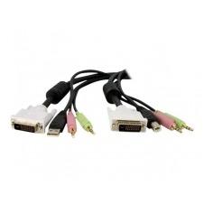 StarTech.com 4 en 1 Cable de 1,8m para Switch Conmutador KVM 4en1 DVI-D Dual Link Doble Enlace USB con Audio Micrófono - cable para teclado/ratón/víde