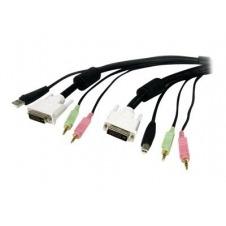 StarTech.com Cable KVM 4 en 1 de 1,8m con DVI USB Audio y Micrófono - cable alargador de teclado / vídeo / ratón / audio - 1.8 m