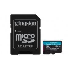 KINGSTON MICROSDXC 64GB CANVAS GO PLUS 170R A2 U3 V30 CARD + ADAPTADOR
