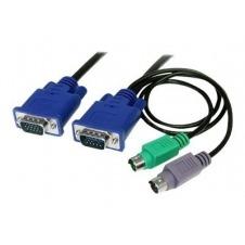 StarTech.com 3 en 1 Cable KVM de 1,8m Ultra Delgado Todo en Uno VGA PS/2 PS2 HD15 - 6ft Pies 3 en 1 - cable de teclado / vídeo / ratón (KVM) - 1.8 m