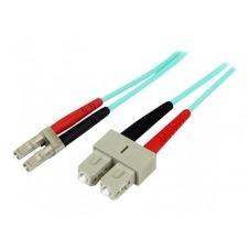 StarTech.com 2m Fiber Optic Cable - Aqua - MM Duplex 50/125 - LSZH - LC/SC - cable de interconexión - 2 m - agua