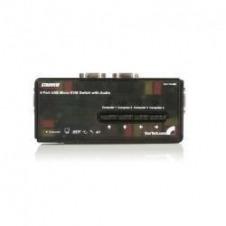 StarTech.com Juego de Conmutador Switch KVM 4 Puertos Vídeo VGA USB 2.0 con Cables y Audio - conmutador KVM / audio - 4 puertos