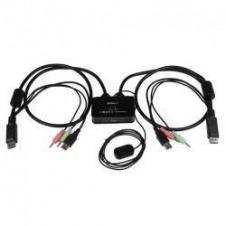 StarTech.com Conmutador Switch KVM 2 puertos DisplayPort DP USB Audio con Cables Integrados - 1080p - conmutador KVM / audio - 2 puertos