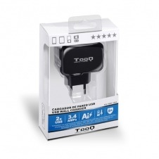 TOOQ CARGADOR DE PARED USB 2xUSB 3.4 AI-TECH NEGRO