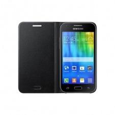 Samsung Funda Flip Cover protectora con tarjetero Negra para J1
