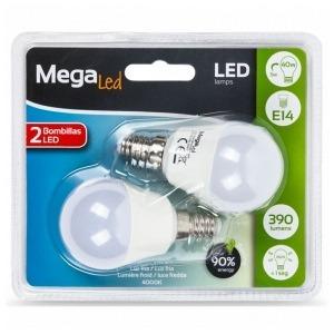 Bombilla LED Esférica MegaLed P45-5 5W E14 4000K 390 lm Luz blanca (2 Pcs)