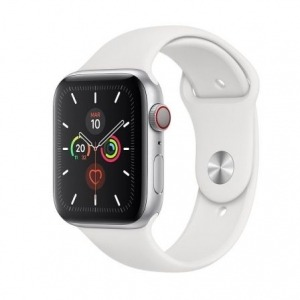 Apple Watch Series 5 GPS 44mm + Cellular Aluminio Plata con Correa Deportiva Blanca
