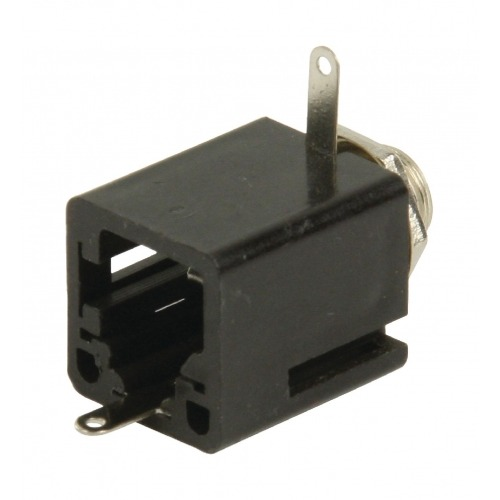 Conector Mono 6.35 mm Hembra PVC Negro