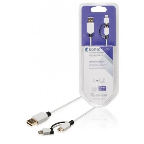 Cable de carga y sincronización de USB Micro B macho a A macho + adaptador Lightning macho de 8 pi