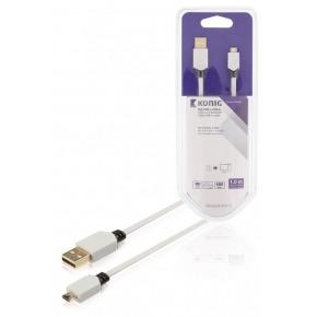 Cable USB 2.0 plano de A macho a B macho de 1,00m en blanco