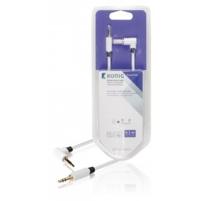 Cable de audio estéreo de 3,5mm macho a macho en ángulo de 0,50m en blanco