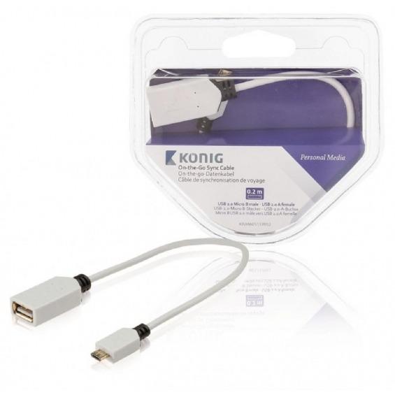 Cable de sincronización on-the-go de USB 2.0 Micro B macho a USB 2.0 A hembra de 0,20m en blanco
