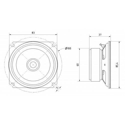 Full-range speaker Waterproof 8 cm 8 Ohm 30 W