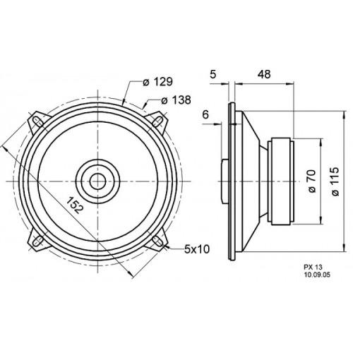 13 cm (5) 2-way coaxial loudspeaker 4 ? 30 W