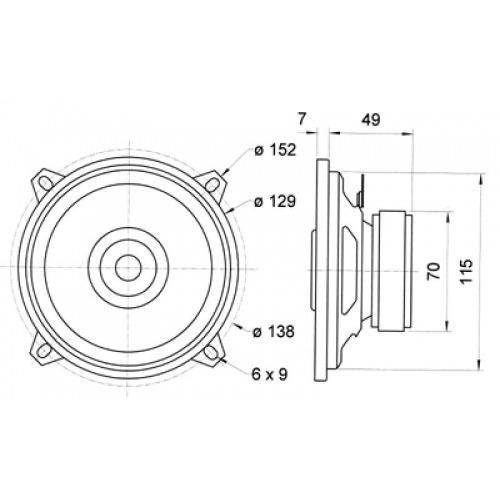 2-way coaxial loudspeaker 4 Ohm 80 W
