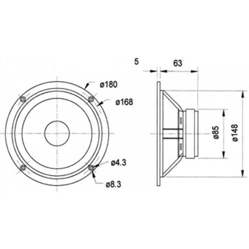 Altavoz de bajo medio rango de gama alta 17 cm (6.5