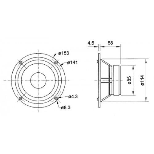 Altavoz de medio rango de gama alta 13 cm (5
