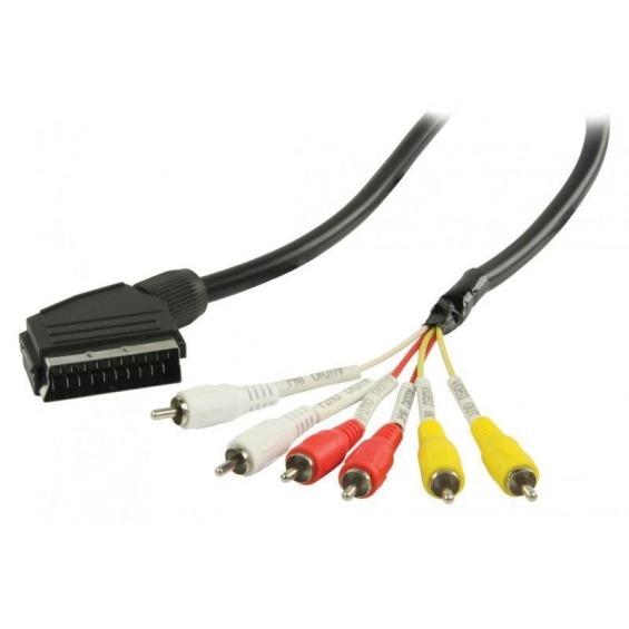 Cable SCART RCA SCART macho 6 RCA macho de 2,00 m en color negro