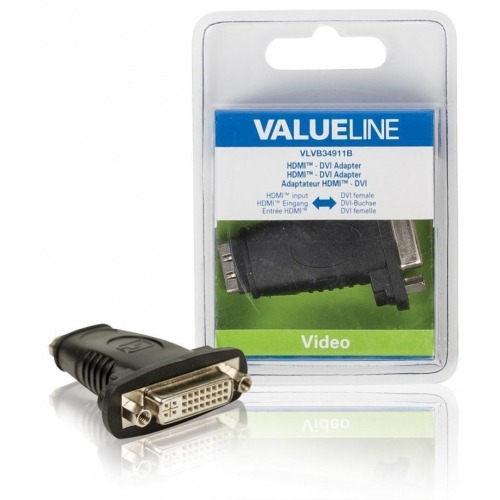 Adaptador HDMI - DVI con entrada HDMI - DVI hembra en color negro