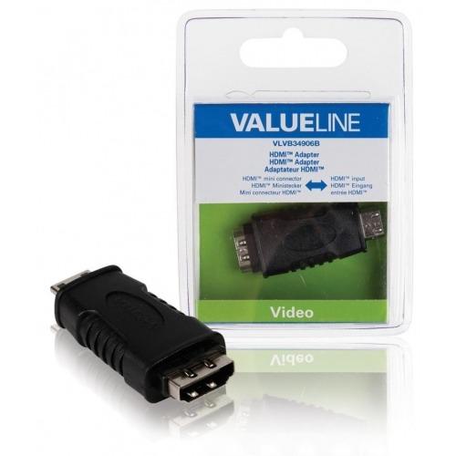 Adaptador HDMI con mini conector HDMI - entrada HDMI en color negro
