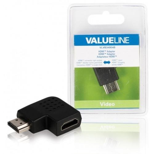 Adaptador HDMI con conector HDMI en ángulo hacia la derecha entrada HDMI en color negro