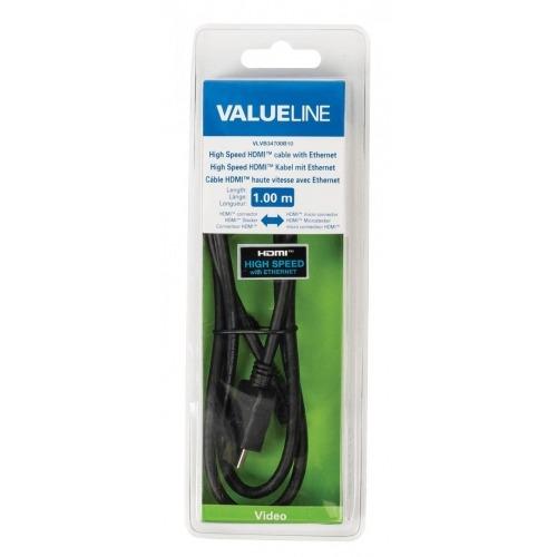 Cable HDMI de alta velocidad con conector HDMIEthernet micro conector HDMI de 1.00 m en color negr