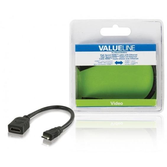 Cable HDMI de alta velocidad con mini conector HDMI Ethernet - entrada HDMI de 0.20 m en color negr
