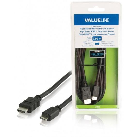 Cable HDMI de alta velocidad con conector HDMIEthernet mini conector HDMI de 2.00 m en color negro