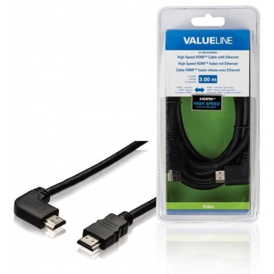 Cable HDMI de alta velocidad con conector HDMI Ethernet conector HDMI en ángulo hacia la derecha