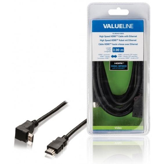 Cable HDMI de alta velocidad con conector HDMI Ethernet conector HDMI en ángulo de 270° de 3.00
