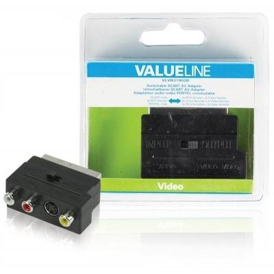 Adaptador Scart Av Intercambiable Scart Macho - 3 Rca Hembra + S-Video Hembra En Color Negro