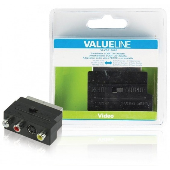 Adaptador SCART AV intercambiable SCART macho - 3 RCA hembra + S-Video hembra en color negro