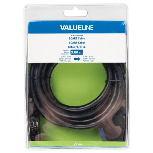 Cable SCART de SCART macho - SCART macho de 3.00 m en color negro