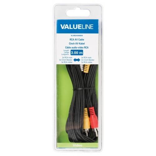 Cable AV 3 RCA macho 3 RCA macho de 3.00 m en color negro