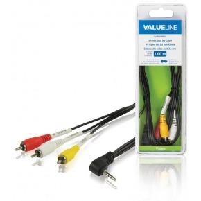 Cable AV jack de 3.5 mm macho 3 RCA macho de 1.00 m en color negro
