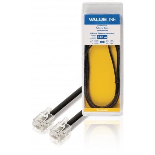 Cable de telecomunicaciones RJ11 macho – RJ11 macho 2,00 m negro