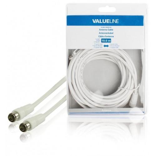 Cable de antena F rápido macho - F rápido macho de 10.0 m en color blanco