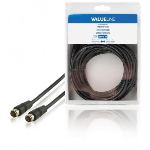 Cable de antena F rápido macho - F rápido macho de 10.0 m en color negro