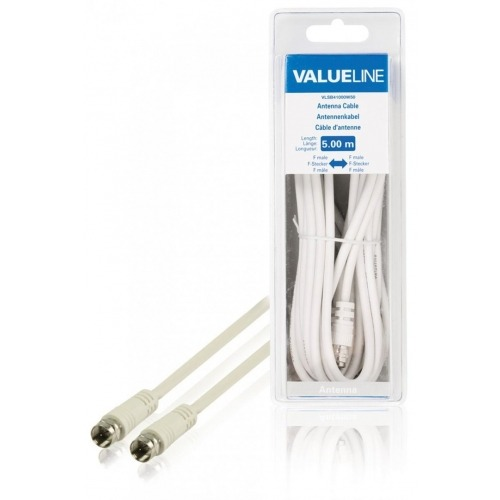 Cable de antena F macho - F macho de 5.00 m en color blanco