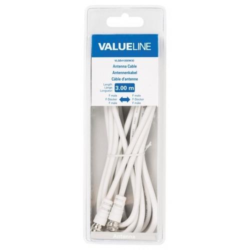 Cable de antena F macho - F macho de 3.00 m en color blanco