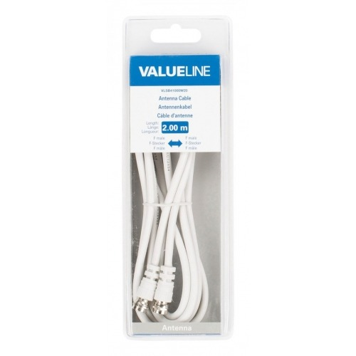 Cable de antena F macho - F macho de 2.00 m en color blanco