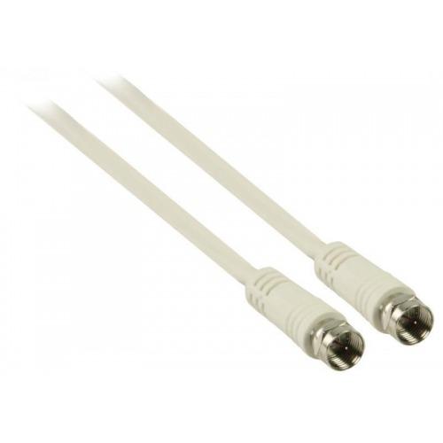 Cable de antena F macho - F macho de 10.0 m en color blanco