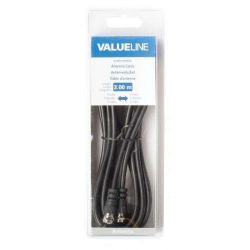 Cable de antena F macho - F macho de 3.00 m en color negro