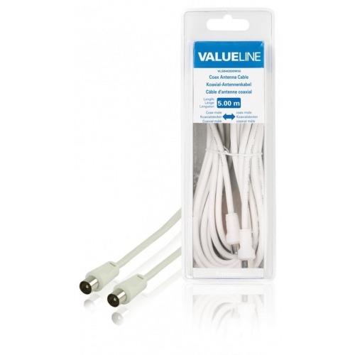 Cable de antena coaxial macho - coaxial macho de 5.00 m en color blanco