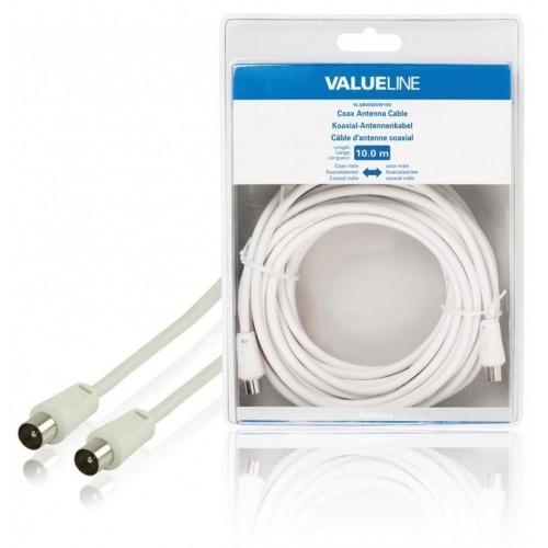 Cable de antena coaxial macho - coaxial macho de 10.0 m en color blanco