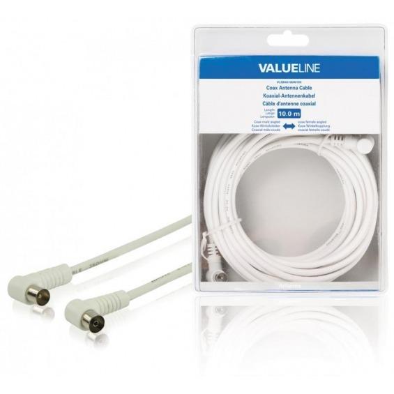 Cable de antena coaxial macho en ángulo - coaxial hembra en ángulo de 10.0 m en color blanco
