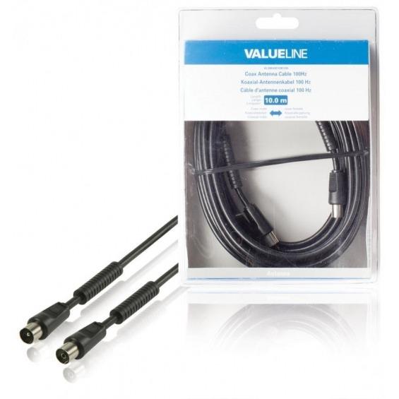 Cable de antena coaxial de 100 dB coaxial macho - coaxial hembra de 10.0 m en color negro