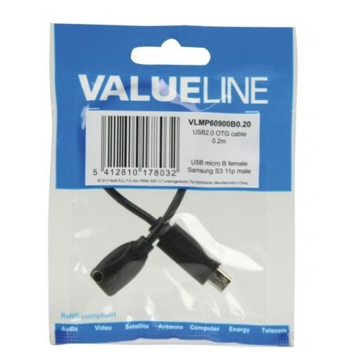 Cable adaptador MHL, USB 11-pines Micro B macho - USB 5-pines Micro B hembra, 0,20 m, negro
